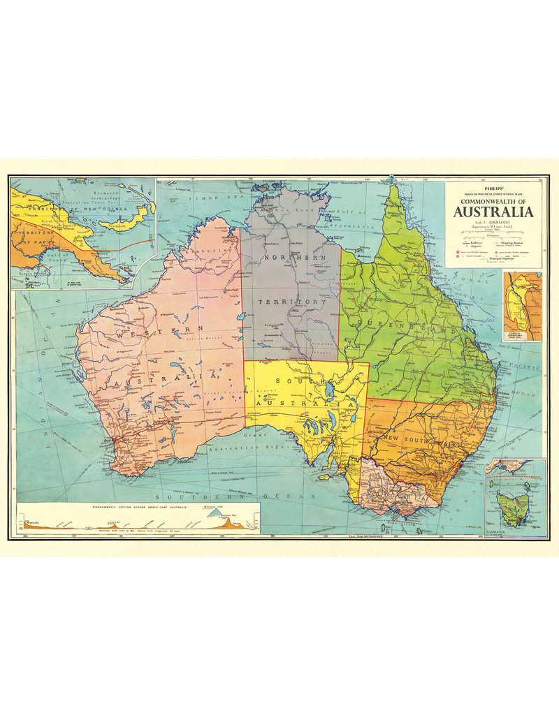 Cavallini Wrap Sheet Australia Map 3