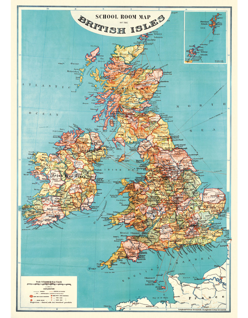Cavallini Wrap Sheet British Isles Map