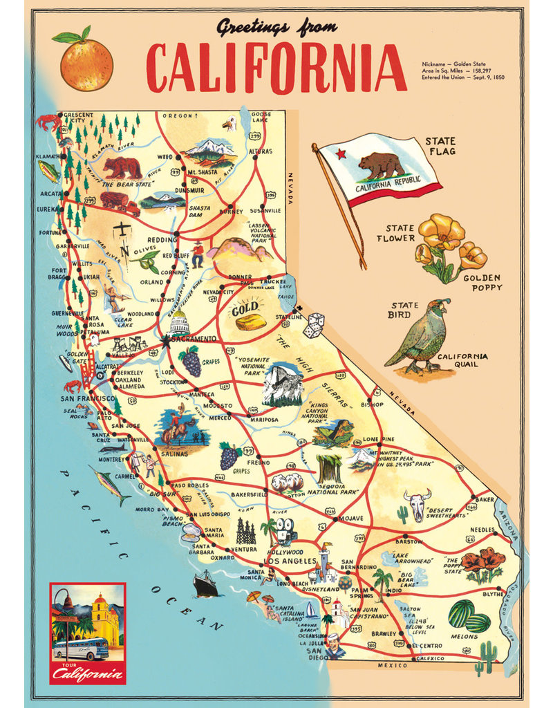 Cavallini Wrap Sheet California Map