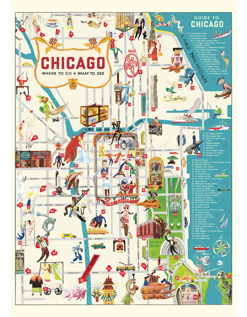 Cavallini Wrap Sheet Chicago Map 2