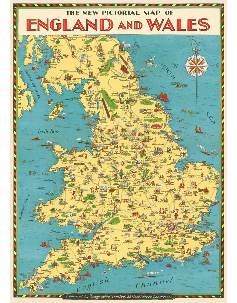 Cavallini Wrap Sheet England Map