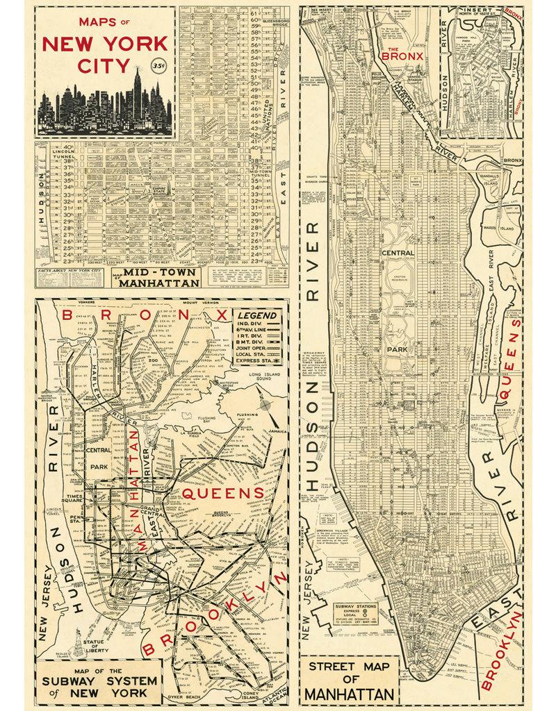 Cavallini Wrap Sheet New York City Map 4