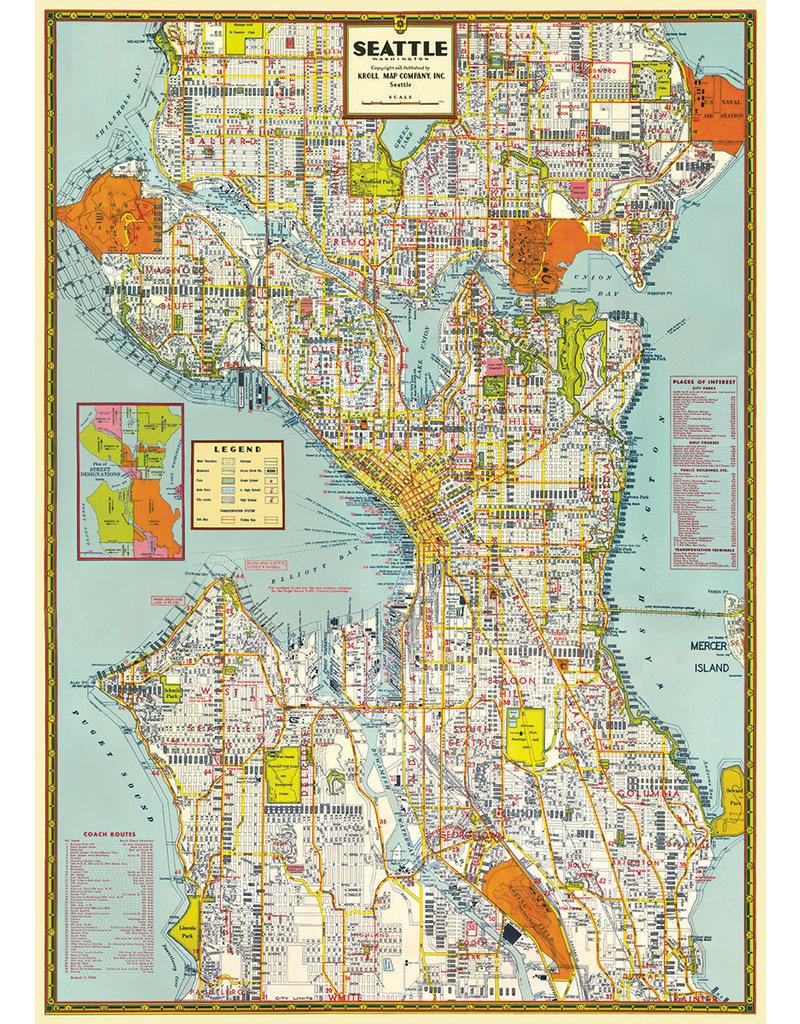 Cavallini Wrap Sheet Seattle Map