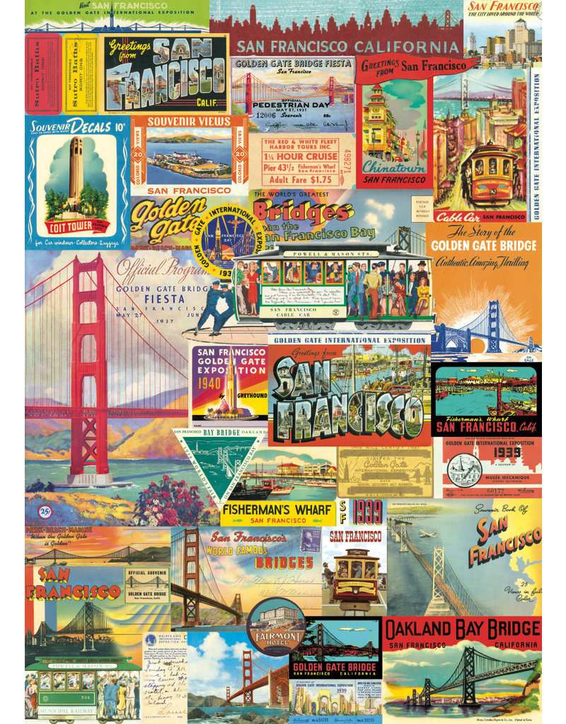 Cavallini Wrap Sheet San Francisco Collage