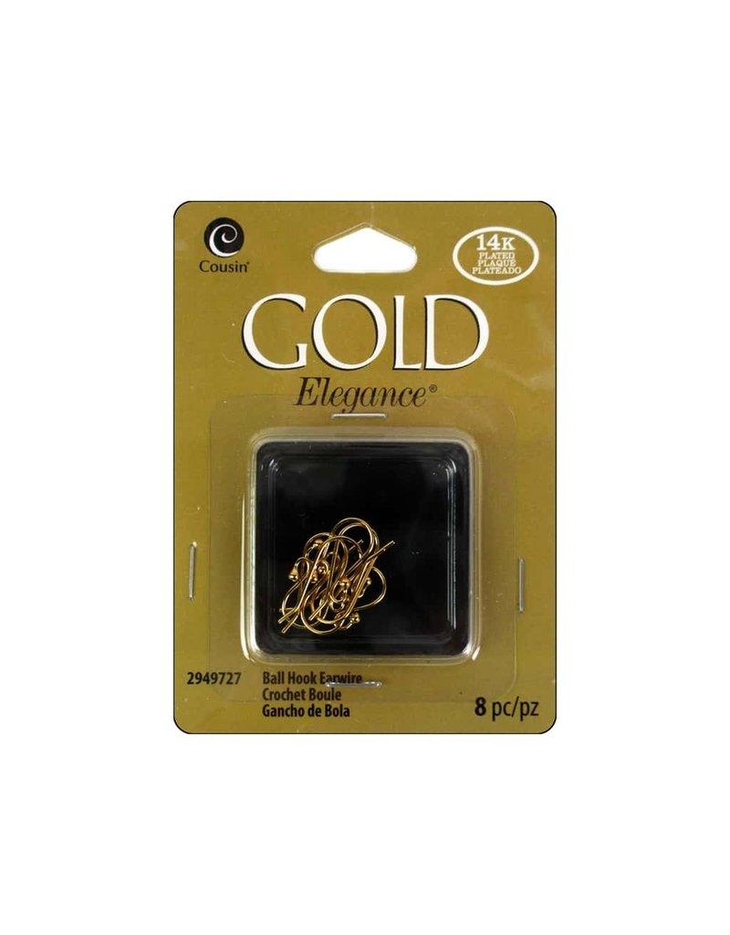Darice 8PC 14K Gold Plate Ball Hook Earring Post