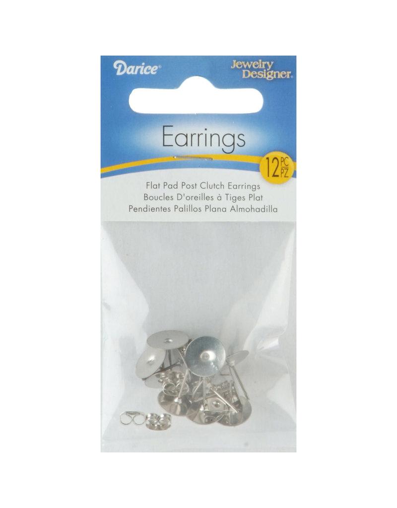 Darice 10MM Flat Pad Butterfly Clutch Earrings Silver