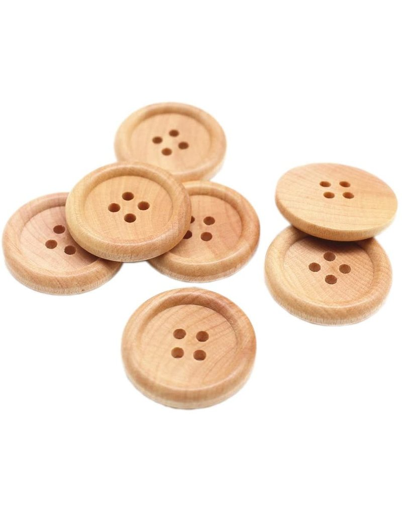 Darice Buttons - Natural Wood - 30mm - 6 Pieces