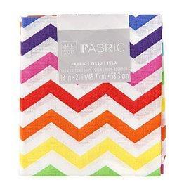 Darice Chevron Quilting Fabric Fat Quarters: Rainbow, 18 X 21 Inches