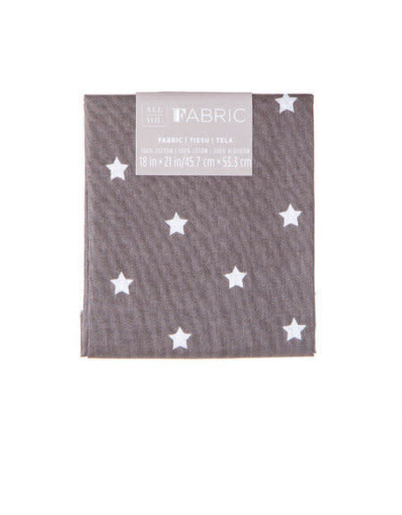 Darice Patterned Quilting Fabric Fat Quarters: Gray W/White Stars, 18 X 21 In
