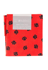 Darice Patterned Quilting Fabric Fat Quarters: Red/Black Paw Print, 18 X 21 In