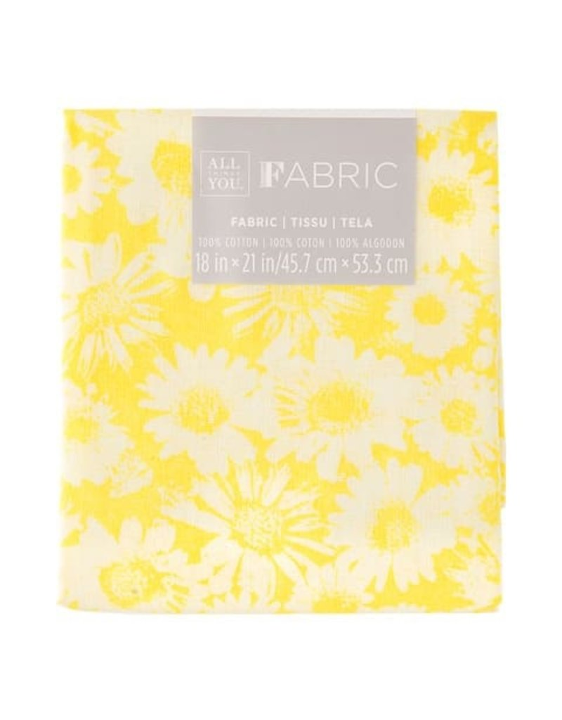 Darice Patterned Quilting Fabric Fat Quarters: Yellow Sunflowers, 18 X 21 In