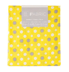 Darice Polka Dot Quilting Fabric Fat Quarters: Yellow, 18 X 21 Inches