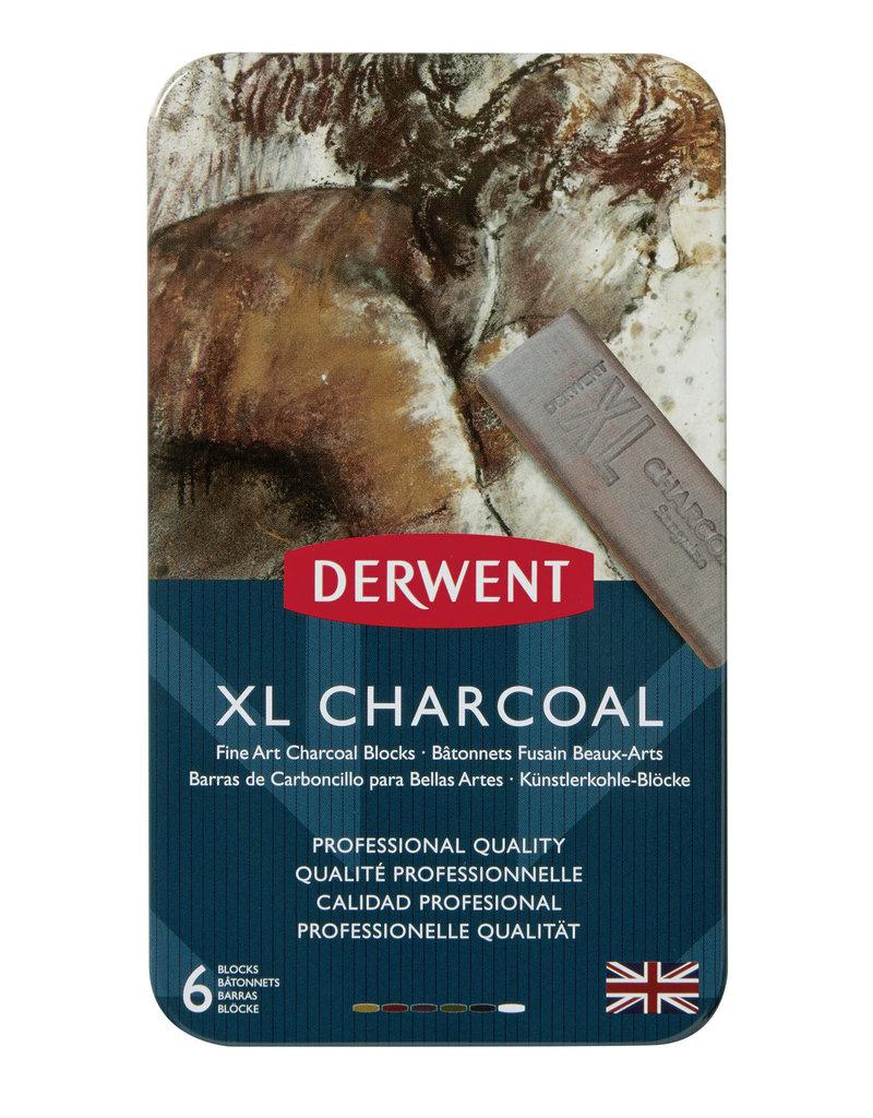 Derwent Xl Charcoal Tin 6-Color Set, Chunky Blocks