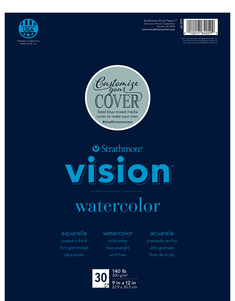 "Strathmore Vision Watercolor Paper Pads, 9"" x 12"" - 30/Sht. Glue Bound"
