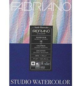 Fabriano Studio Watercolor Pads, Cold-Press, 9'' x 12'' 140 lb., 12 Shts./Pad