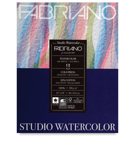 "Fabriano Fabriano Studio Watercolor Pads, Cold-Press, 11"" x 14"" 140 lb., 12 Shts./Pad"