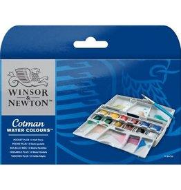 Winsor & Newton Cotman Watercolor Pocket Plus Set, 12 Half Pans & Brush