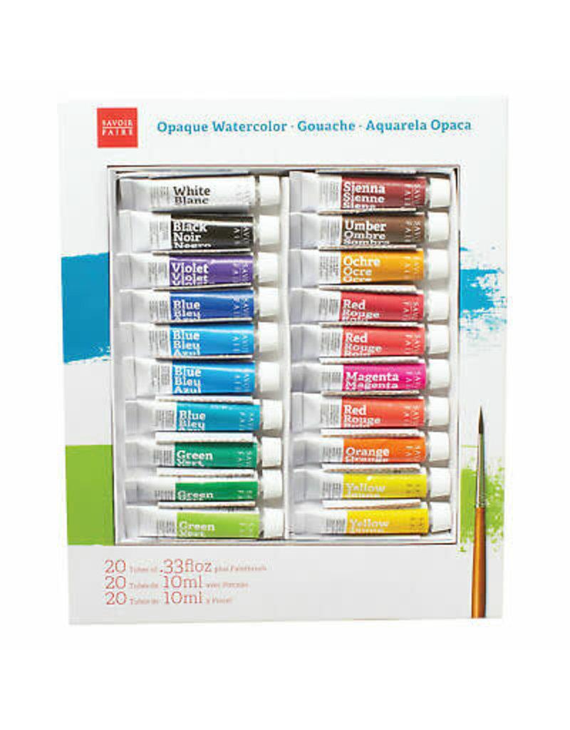 Savoir Faire Opaque Watercolor Gouache Sets, 20 Color Set -- 10ml Tubes