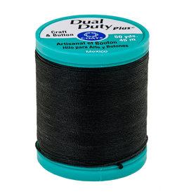 Coats & Clark Dual Duty Plus Button & Carpet Thread 50Yds Cotton Cov Poly Tex100 Black