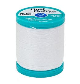 Coats & Clark Dual Duty Plus Button & Carpet Thread 50Yds Cotton Cov Poly Tex100 White