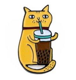 Badge Bomb Enamel Pin Bubble Tea Cat
