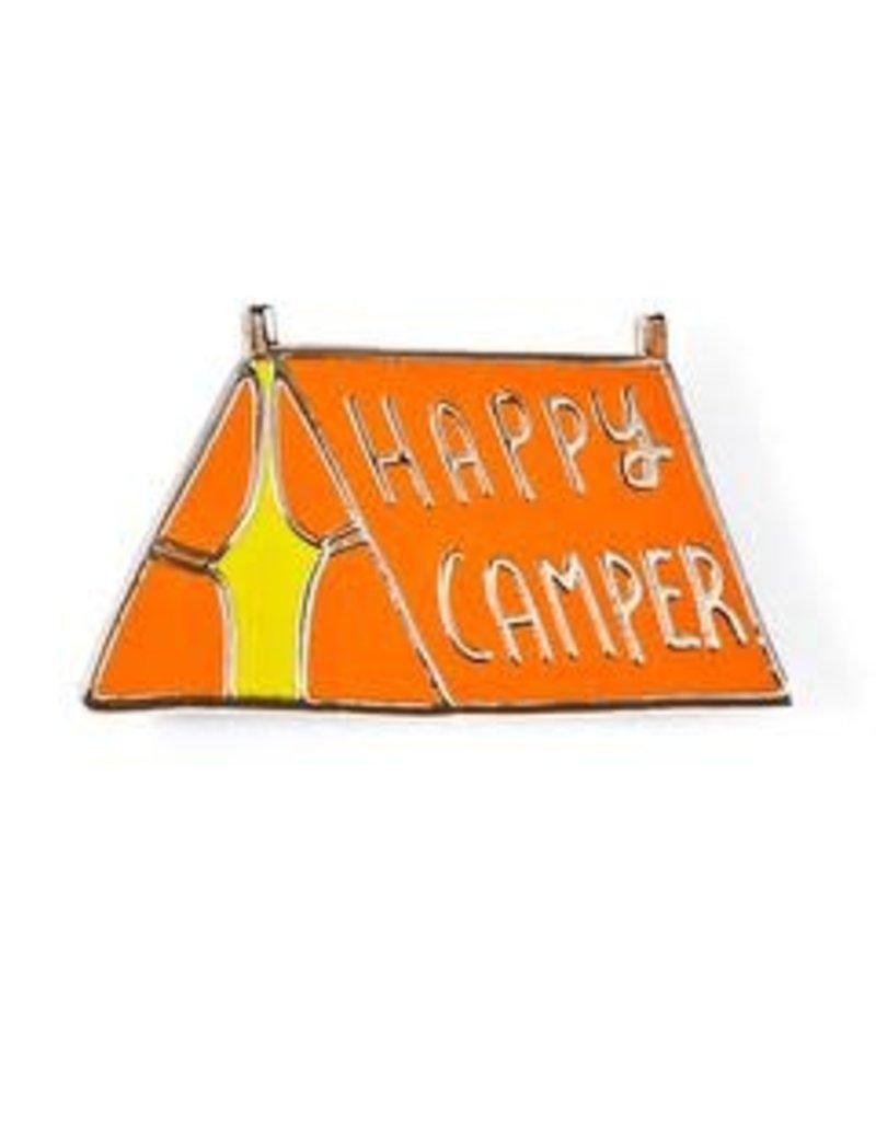 Badge Bomb Enamel Pin Happy Camper Green
