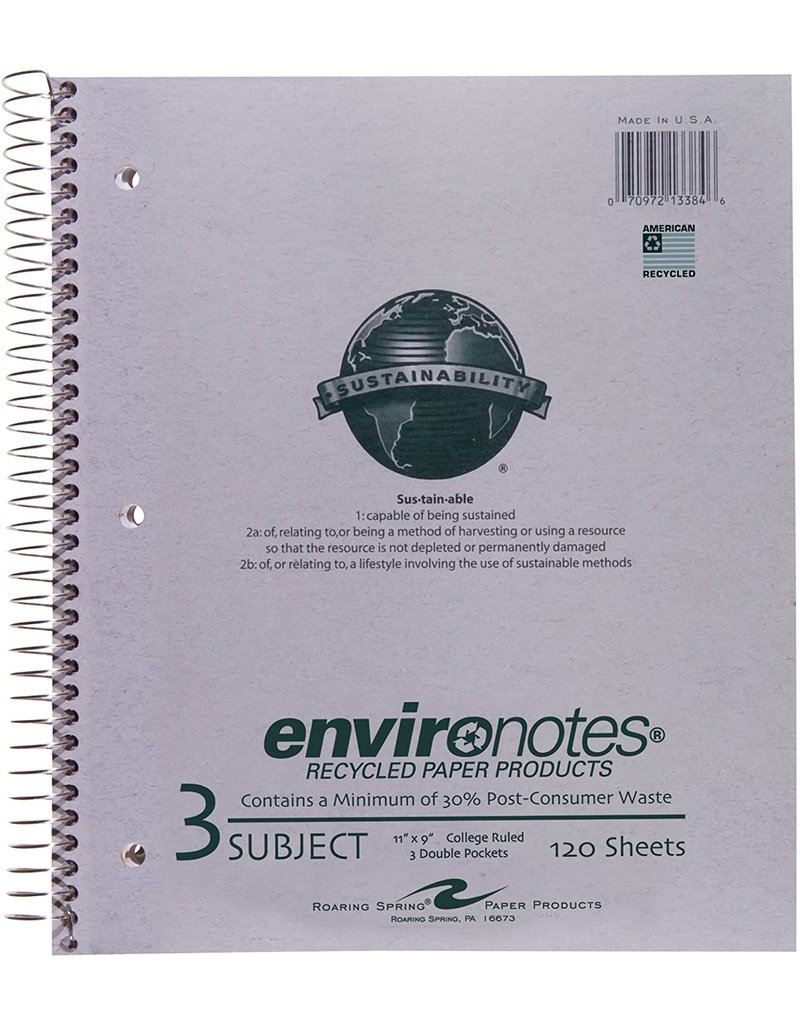 Roaring Springs Roaring Spring Recycled Wirebound Notebook - Gray 9X11In 120Sht Bulk 3 Subject