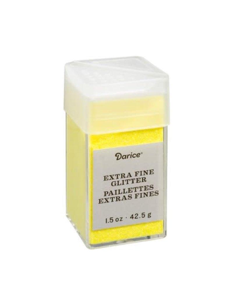 Darice Extra Fine Glitter: Neon Yellow, 1.5 Ounces