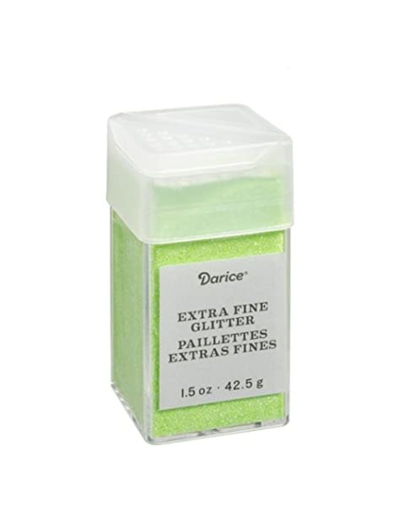 Darice Extra Fine Glitter: Neon Green, 1.5 Ounces
