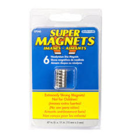 Magnet Source Super Neodymium Disc Magnets, .472'' Dia. X .118'' Thk. 6/Pkg.