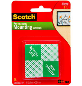 Scotch 3m Scotch Mounting Squares And Tape, Squares 1'', 16/Pkg