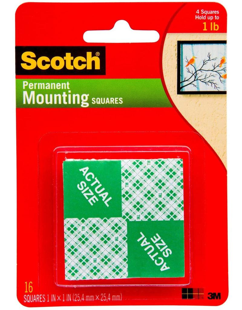 Scotch 3m Scotch Mounting Squares And Tape, Squares 1'', 16/Pkg
