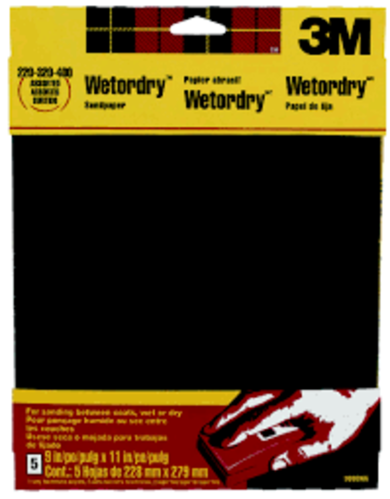 Scotch 3m Wet/Dry Assorted Sandpaper, Five/Sht. 9'' X 11'' 220, 320, 400