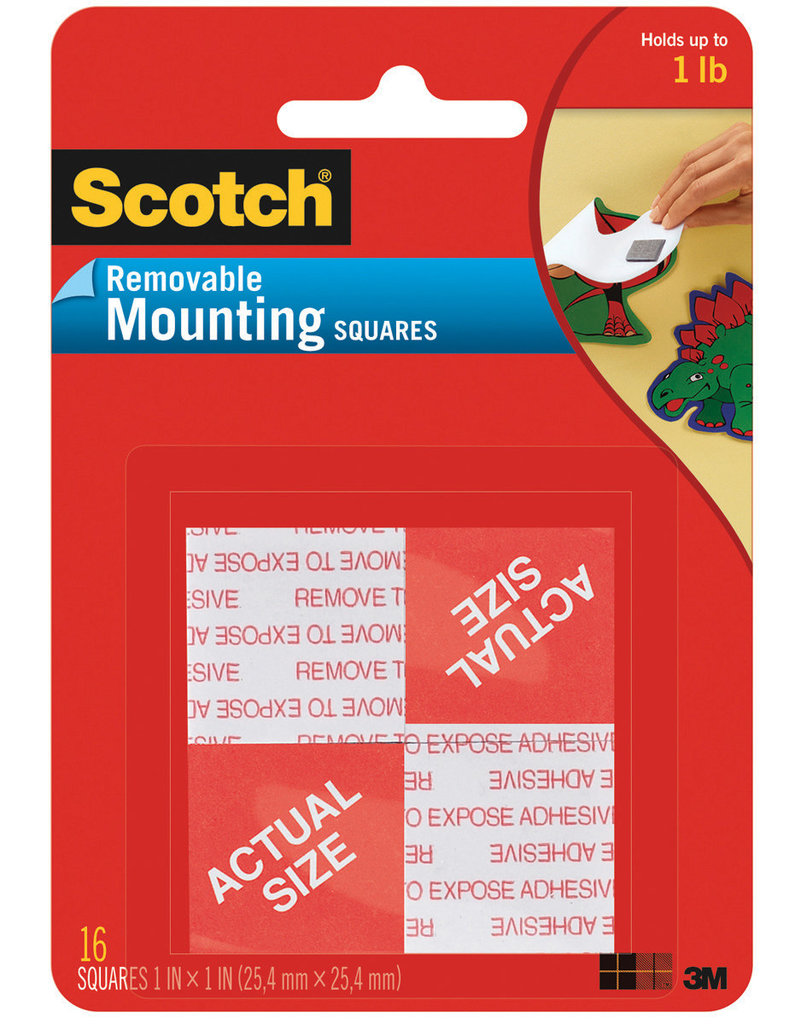 Scotch 3m Scotch Removable Mounting Squares, 1'' Squares 16 Pack