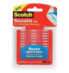 Scotch 3m Scotch Reusable Mounting Sheet, Strips & Tabs, 1'' X 3'' Strips, 6/Pkg.
