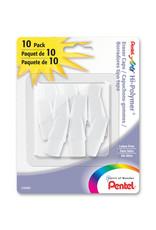 Pentel Hi Polymer Eraser Cap White 10/Pk
