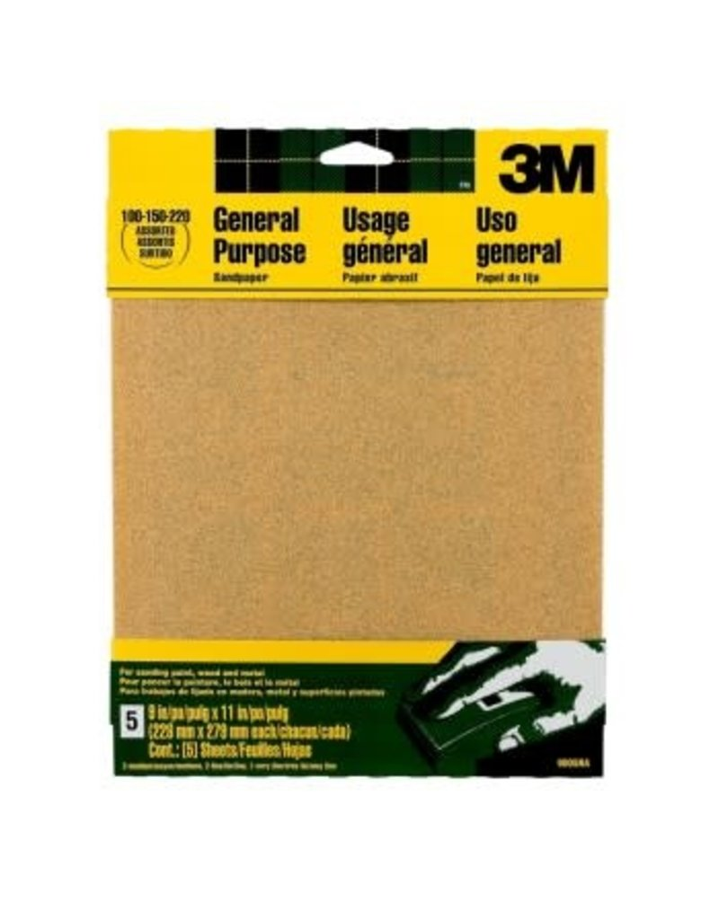Scotch 3m Sandpaper 9x11 Assortment 100, 150, 220 Grit