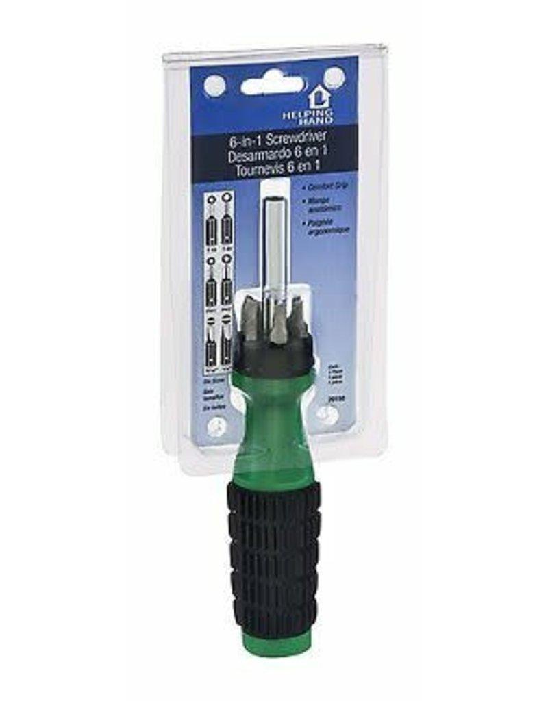 Faucet Queen Helping Hand 6-In-1 Screwdriver - Black-Green 7.25In 1Pk Bp