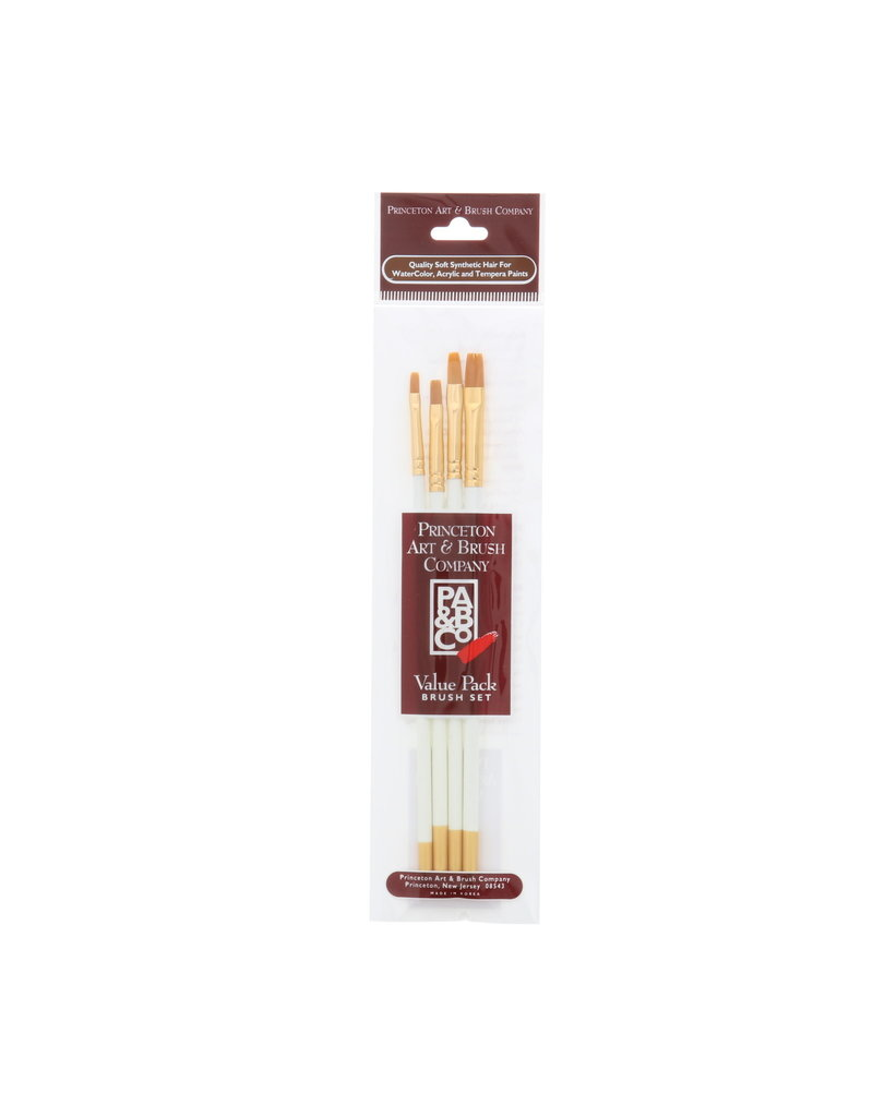 Princeton Brush Value 4/Pk Watercolor Flats