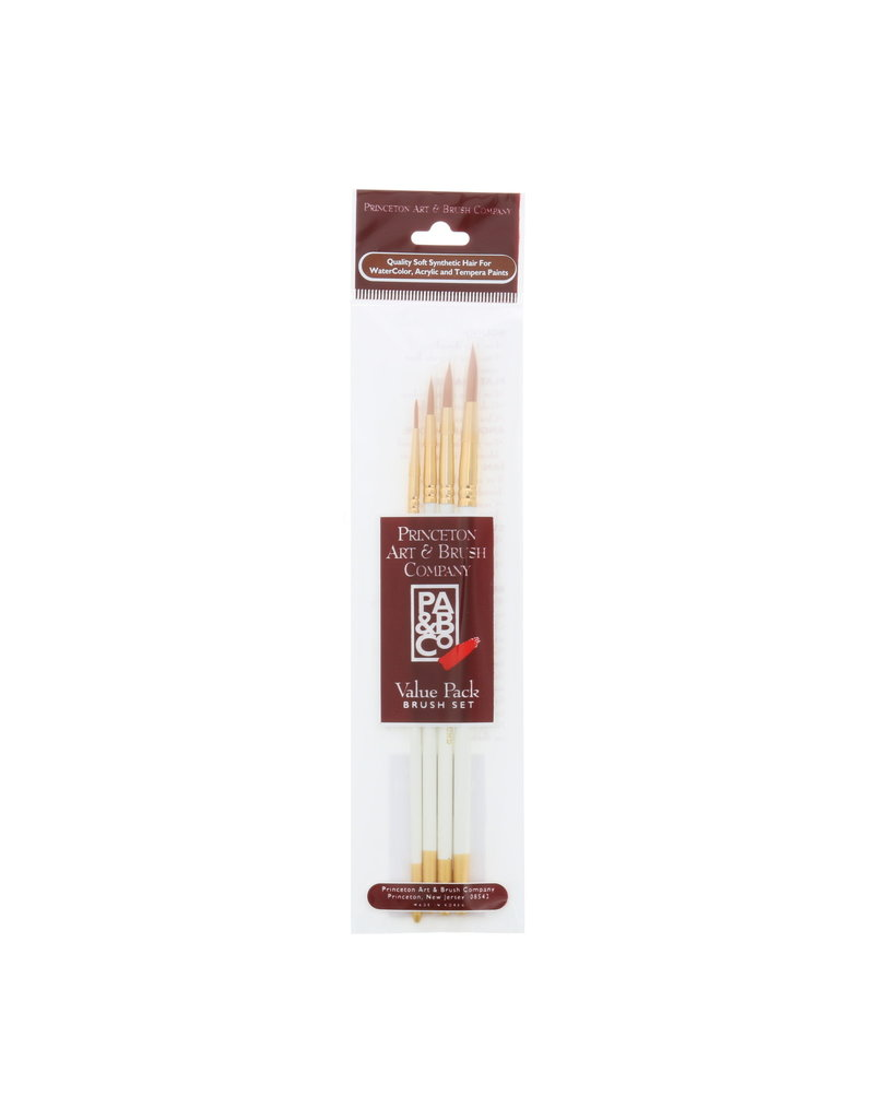 Princeton Brush Value 4/Pk Watercolor Rounds