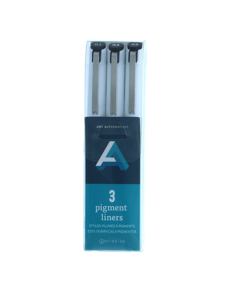Art Alternatives Pigment Liner Sets, 3-Pen Set - .1, .3, .5 - Black