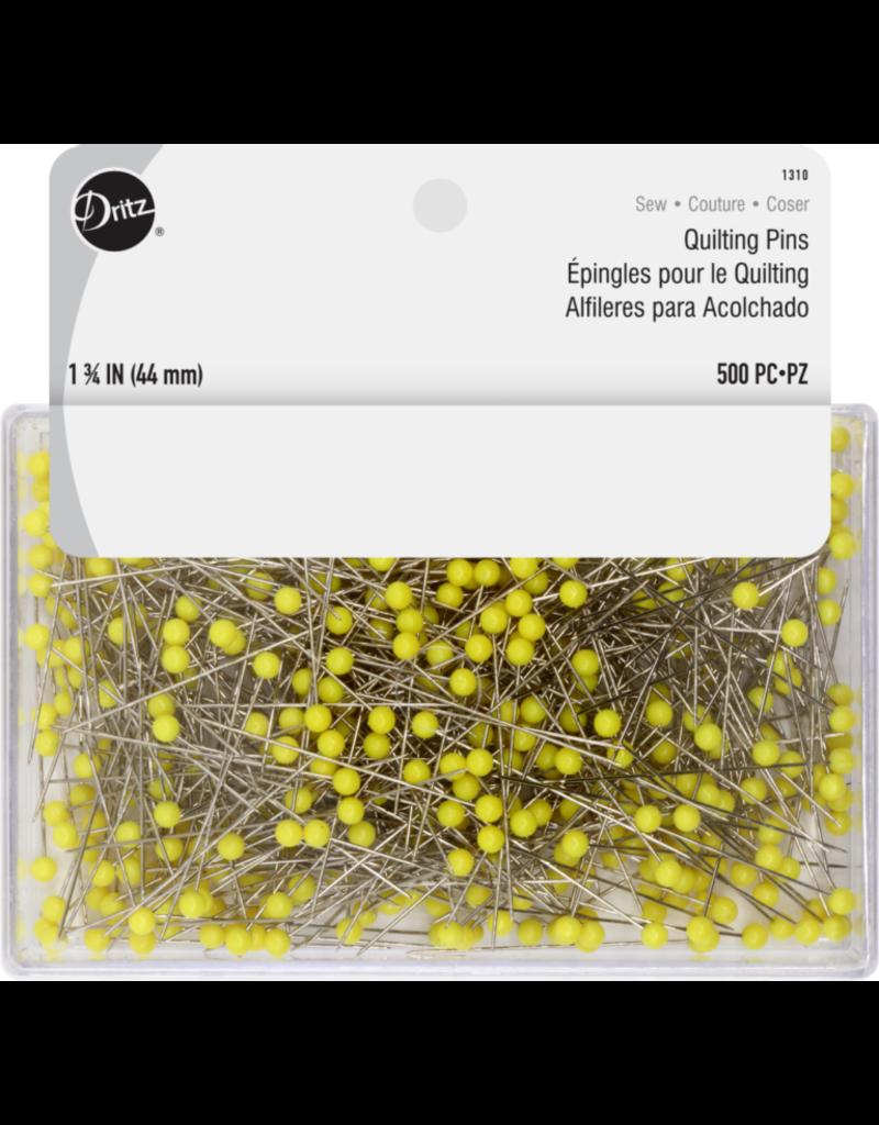 Dritz Jumbo Quilt Pins 500 Count 1 3/4 Inch Yellow Plastic Head