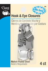 Dritz Hook & Eye Closures Nickel