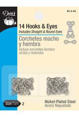 Dritz Hook & Eyes Nickel Size 2