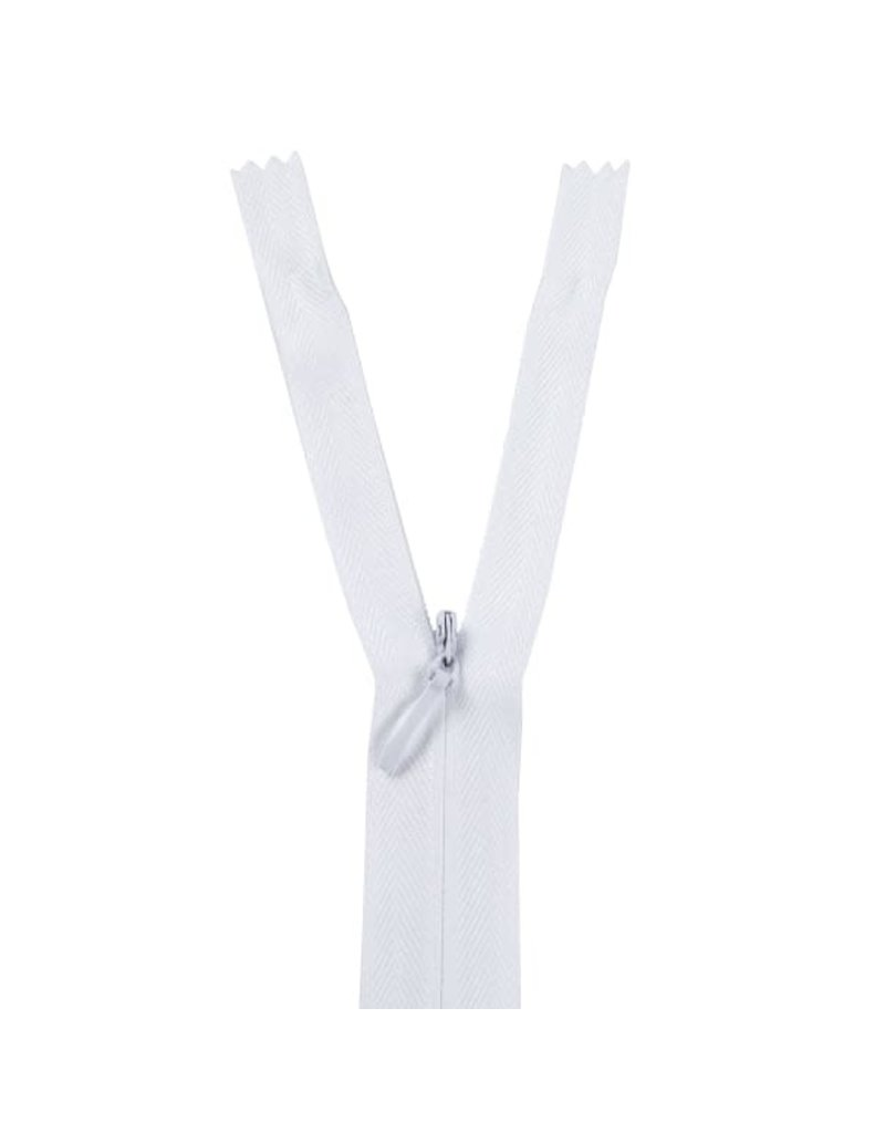 YKK Unique Invisible Zippers 18 In White 100% Poly Tape