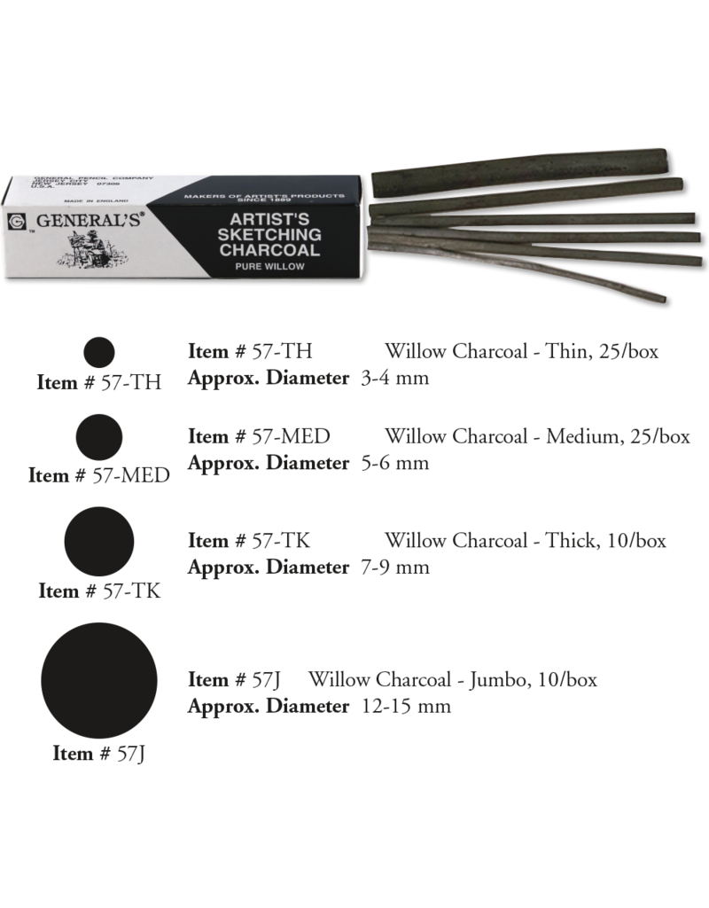 General Pencil **Clearance** Charcoal Medium Willow 25/Bx