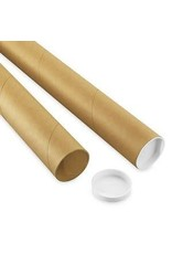Uline 2-Piece Adjustable Kraft Mailing Tubes With End Caps - 3 1/4X24-44'', .18Thick