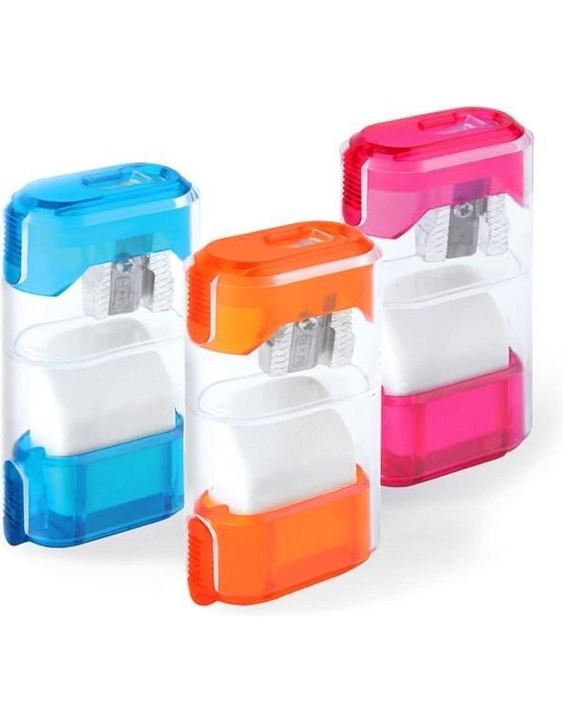 Mobius &Rubbert Sharpener Container With Eraser & Sliding Shutter, 1 Hole Canister