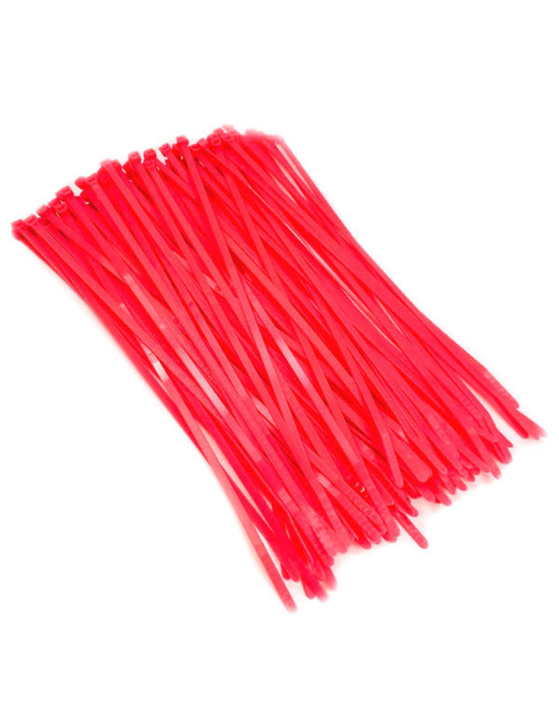 "none Zip Ties 10"" - Flour Red - 3 oz (approx 50 ties)"