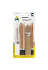 Art Alternatives Sketching 12-Piece Set, 6 Pencils & Accessories